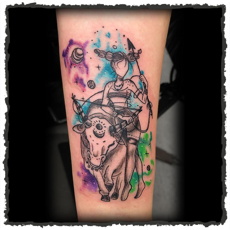 Tattoo by Lexx of a Taurus Zodiac