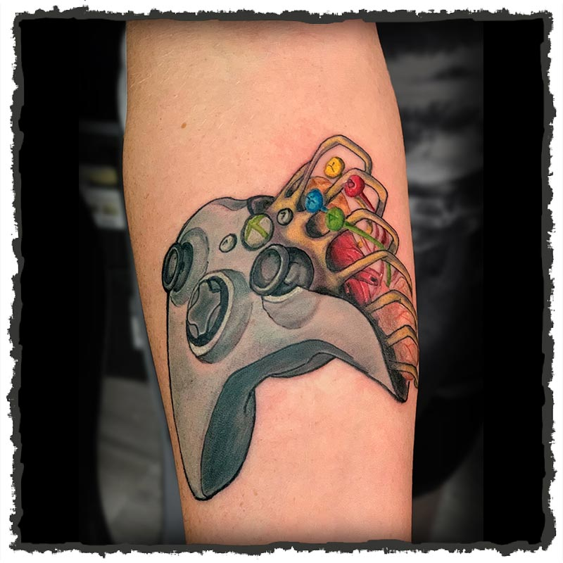 Tattoo by Lexx of a Zombie Xbox Controller