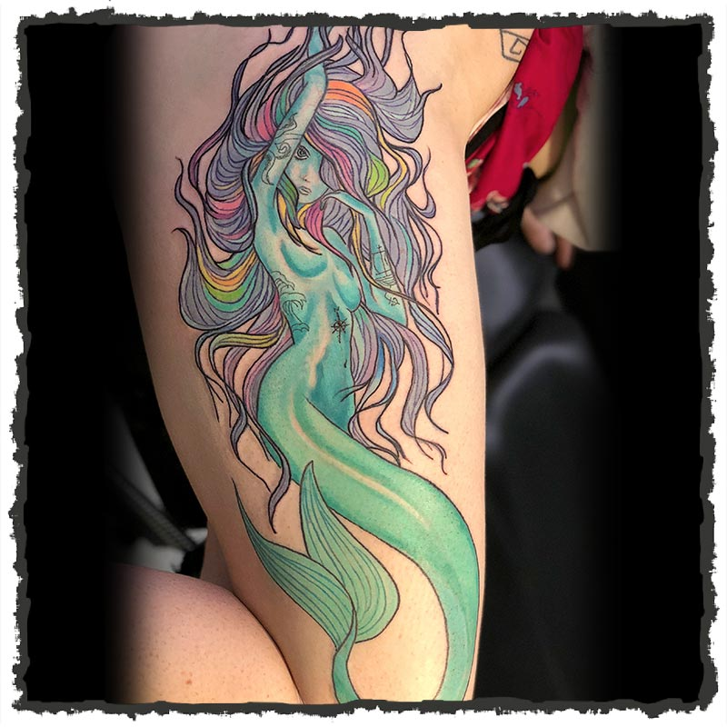 Tattoo by Lexx of a Mermaid