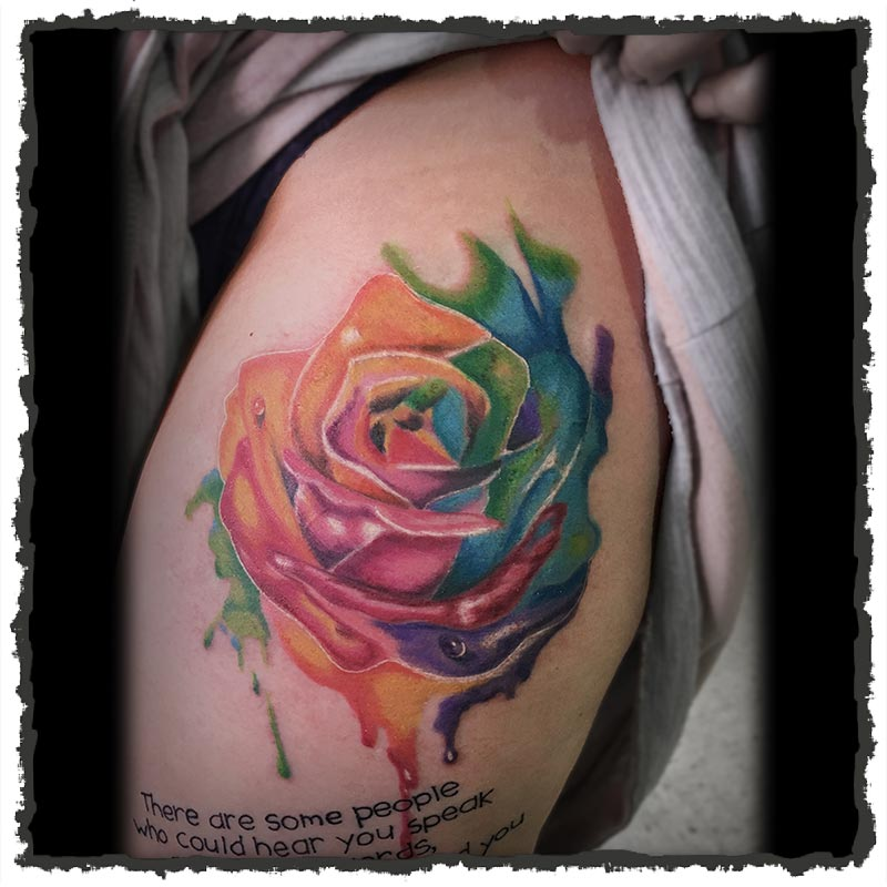 Tattoo by Lexx of a Watercolor Rose