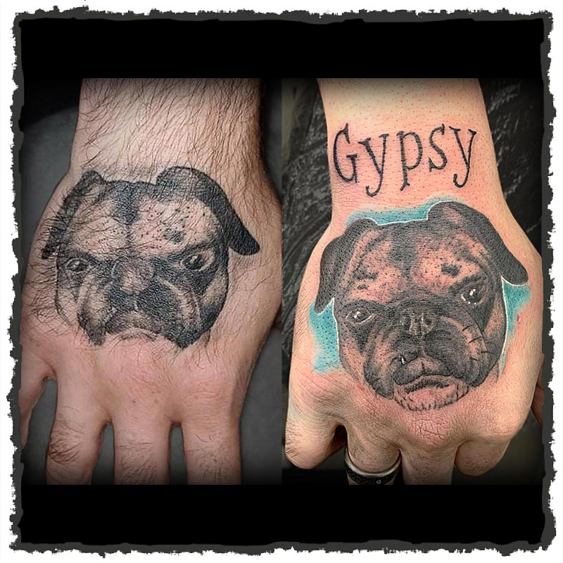 Tattoo by Lexx of a Dog Portrait with name Gypsy