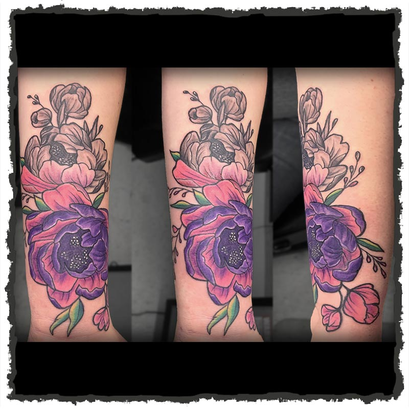 Tattoo by Lexx of a Flower Bouquet