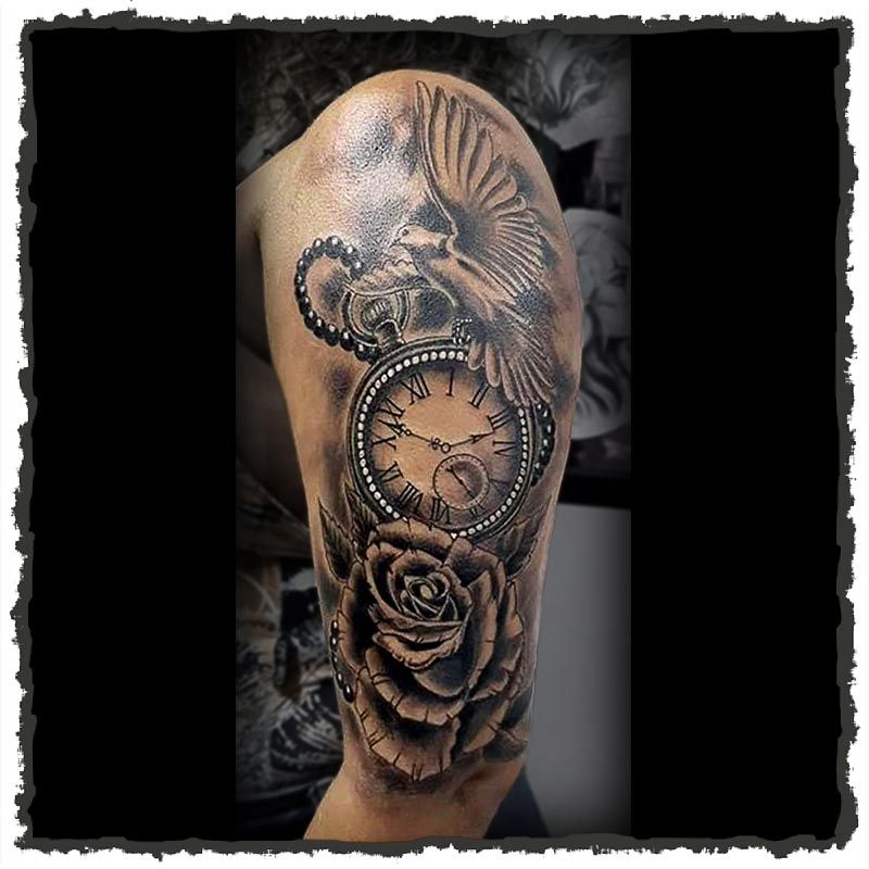 Tattoo by CJ of a Pocket Watch Clock with a Dove and Rose