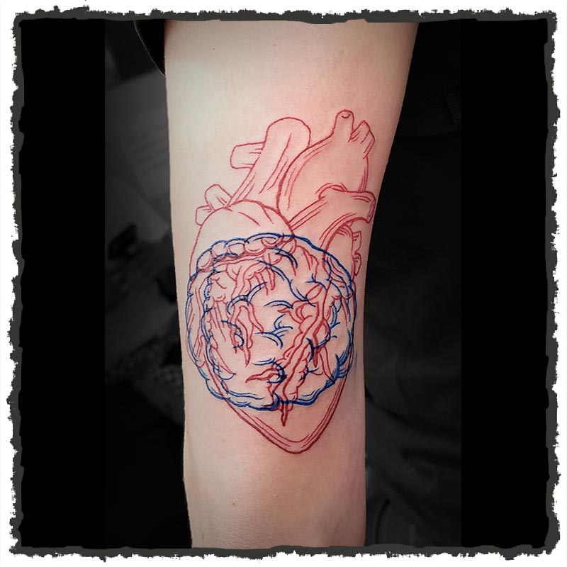 Tattoo by CJ of the Heart and Brain together