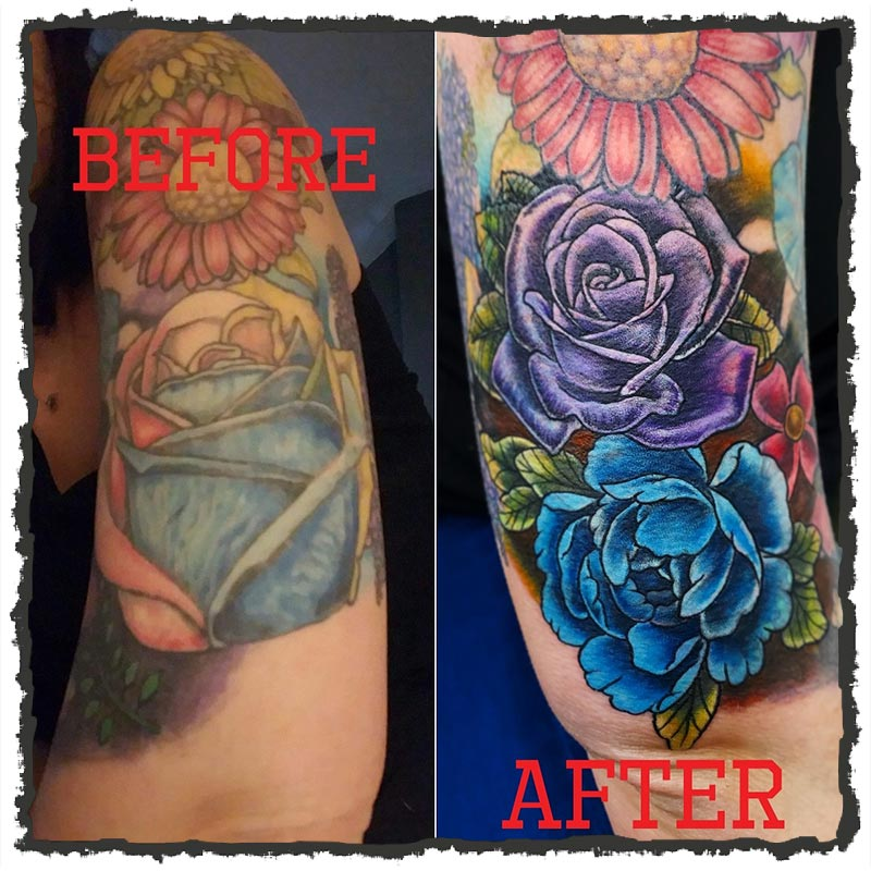 Tattoo by CJ of a coverup using Flowers