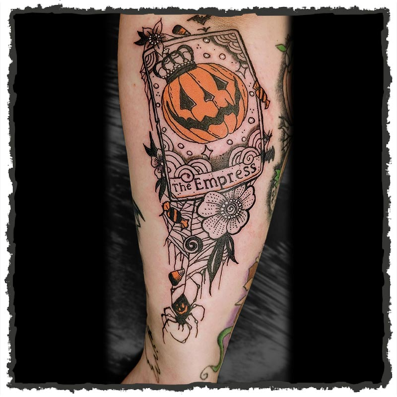 Tattoo by Ruby of a Halloween theme