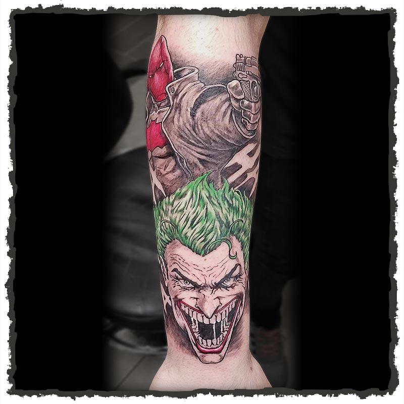 Tattoo by CJ Hooper of the Joker from Batman