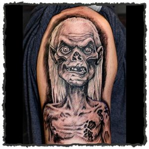 Tattoo by CJ Hooper of the Crypt Keeper from Tales from the Crypt
