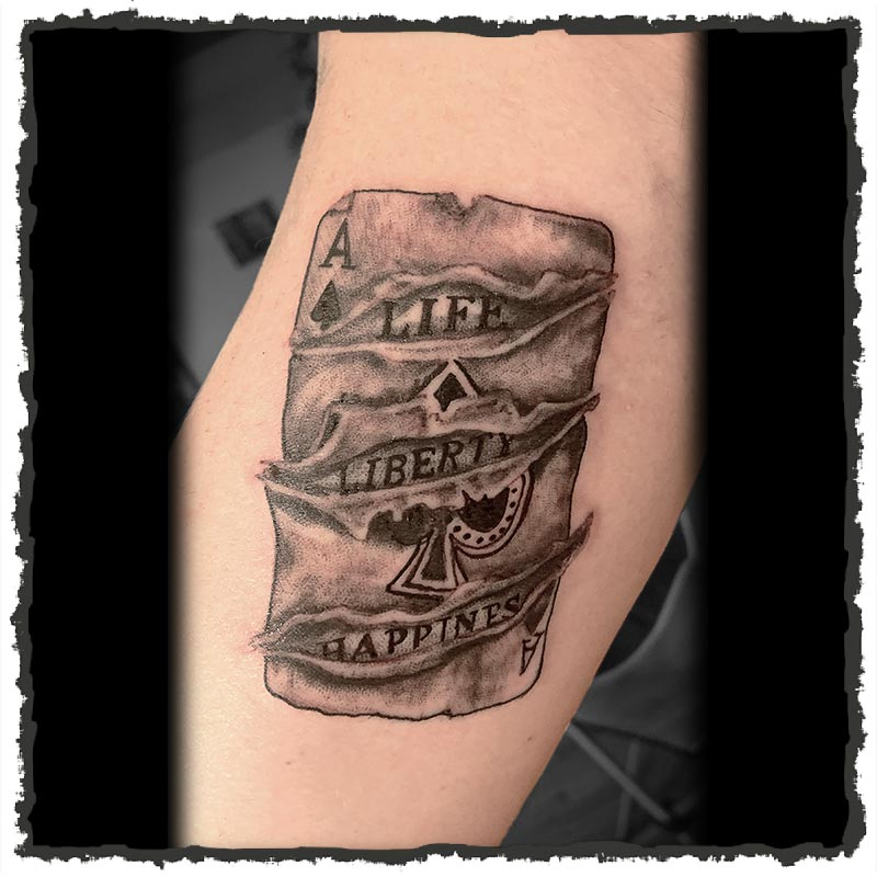 Tattoo by Maria of a Ace of Spades Card