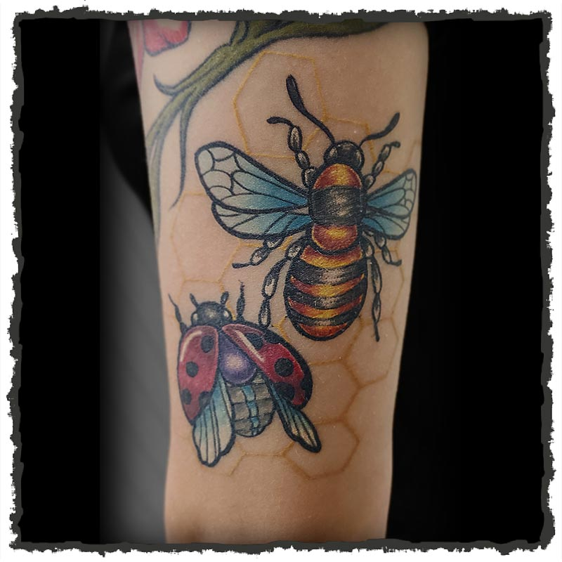 Tattoo by CJ of Bees and Line art honeycomb
