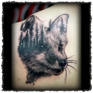 Tattoo by Jokey of a Fox with Forest Silhouette